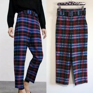 Zara Womens High Waisted Check Trousers Pants  SM